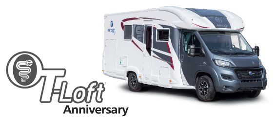 Camper semintegrale Elnagh T-Loft 450 edizione speciale 65° anniversario. Completa di tutti i comfort.