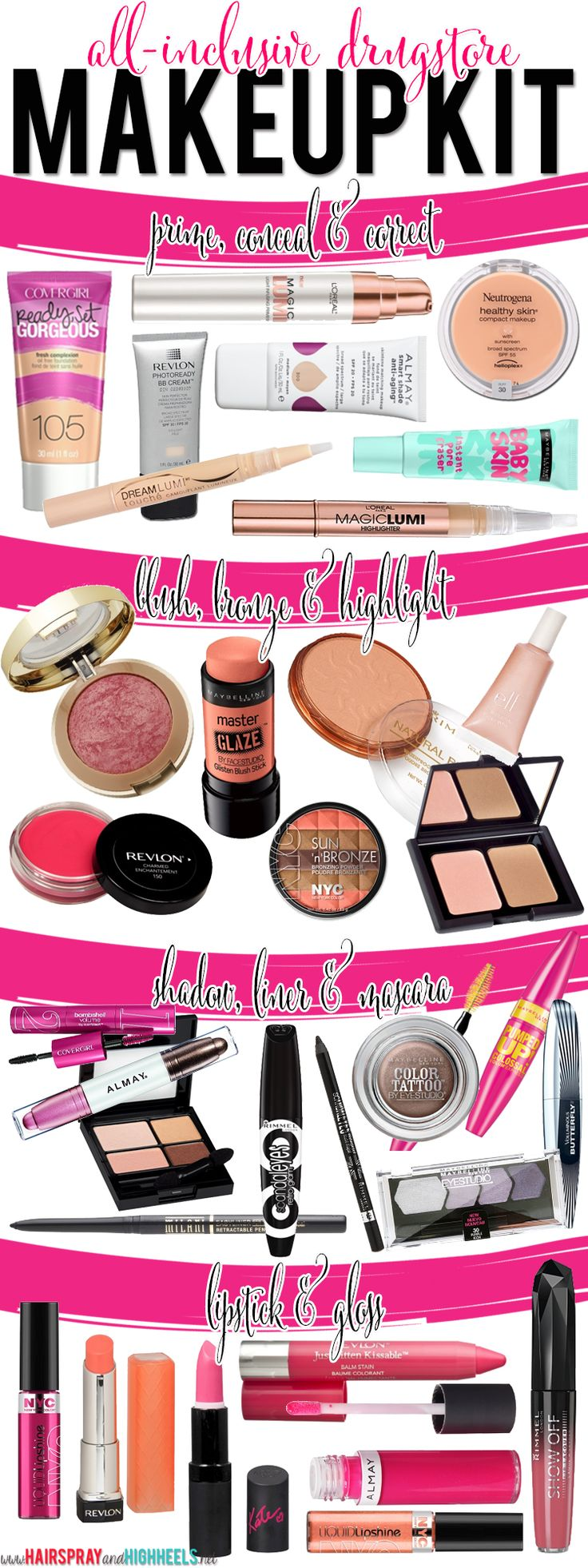 All-Inclusive Drugstore Makeup Kit! All the products that are hot at the drugstore this year! #beauty #makeup