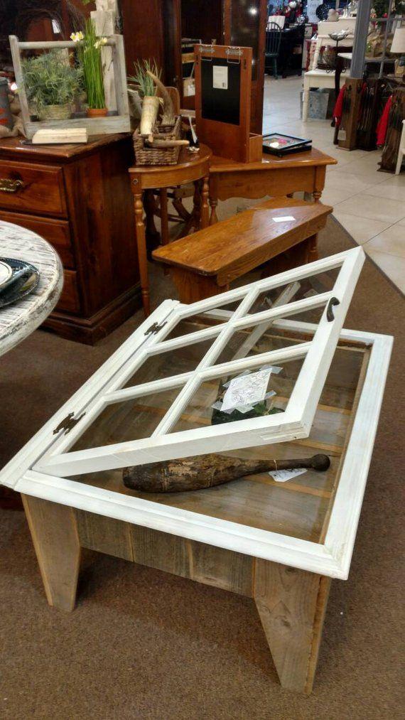 Rustic Display Table Old Window Shadow Box Coffee Table Custom