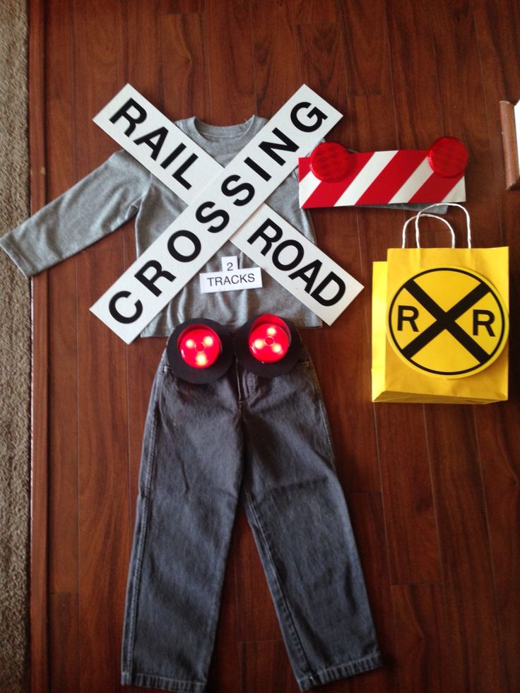 Train gate costume. Bought the railroad and crossing gate