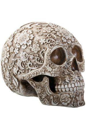 Floral carved skull