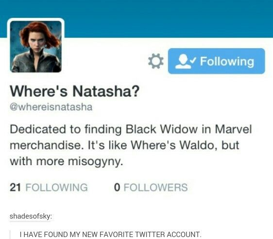 Where's Natasha? <<< I actually found a pair of black widow socks and I found her on a bag on eve but besides that I've sadly never seen her on merchandise