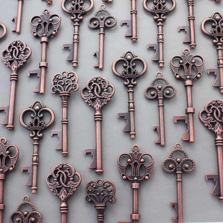 100Pcs Antiqued Copper Skeleton Keys Bottle Openers Mix Wedding Favor Decoration