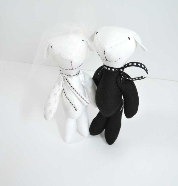 Mr Mrs Husband Wife, Art Bear, Stuffed bear, Vintage style bear, black and white, gift for newlyweds, Wedding day gift for him or her.