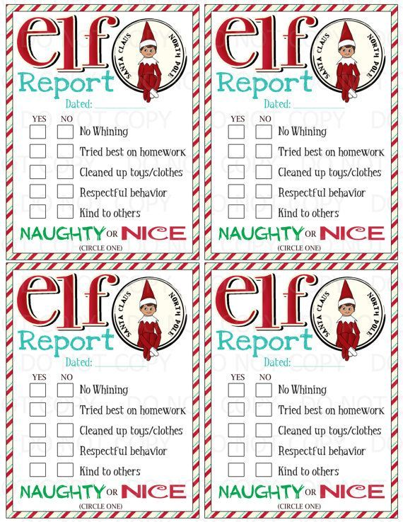 This listing is for a Print it/Do-It-Yourself Elf on the Shelf Elf Report!! 4 reports on one sheet - simply print and cut them out! You will: