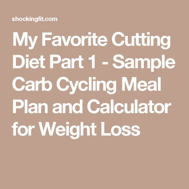 My Favorite Cutting Diet Part 1 - Sample Carb Cycling Meal Plan and Calculator for Weight Loss