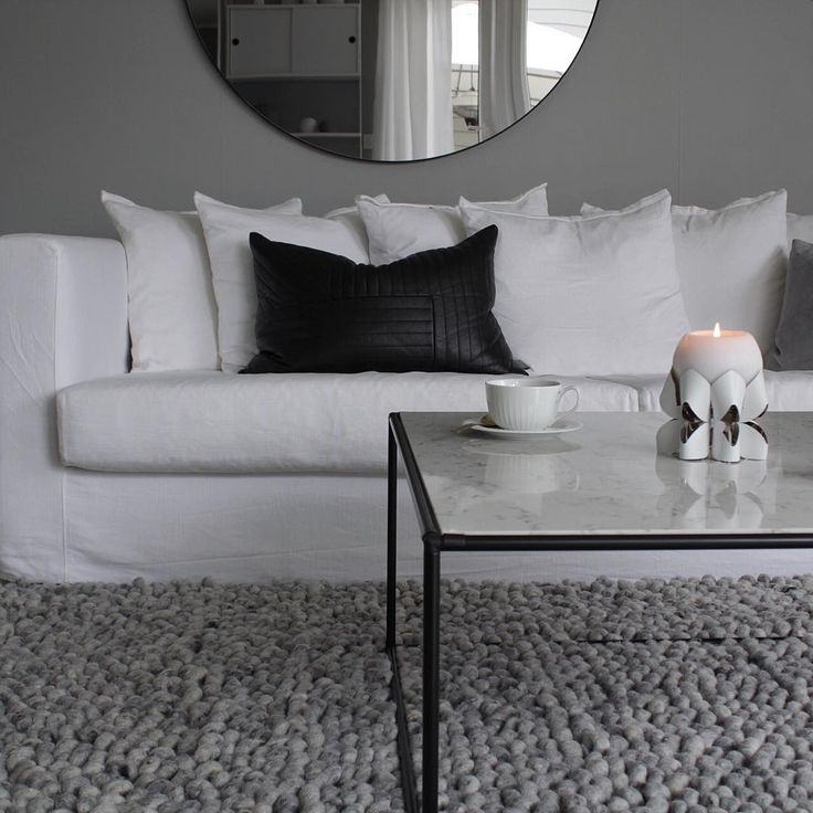 Marble sofa table & white Palea candle holder / Photo by @hannenov