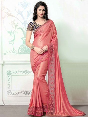 Pink Silk Saree with Embroidery Work