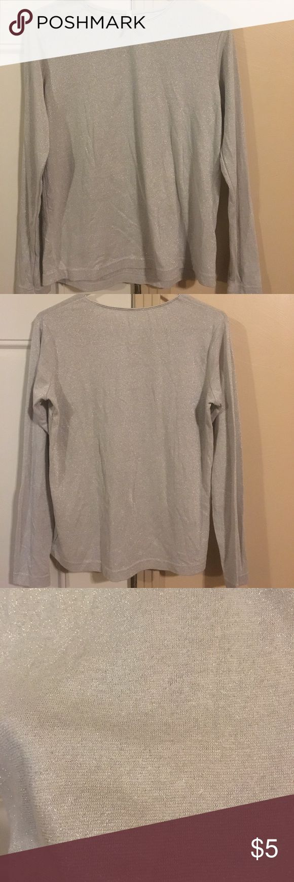 Sparkly long sleeve top Sparkly silver long sleeve ladies knit top. Great holiday basic! White Stag Tops