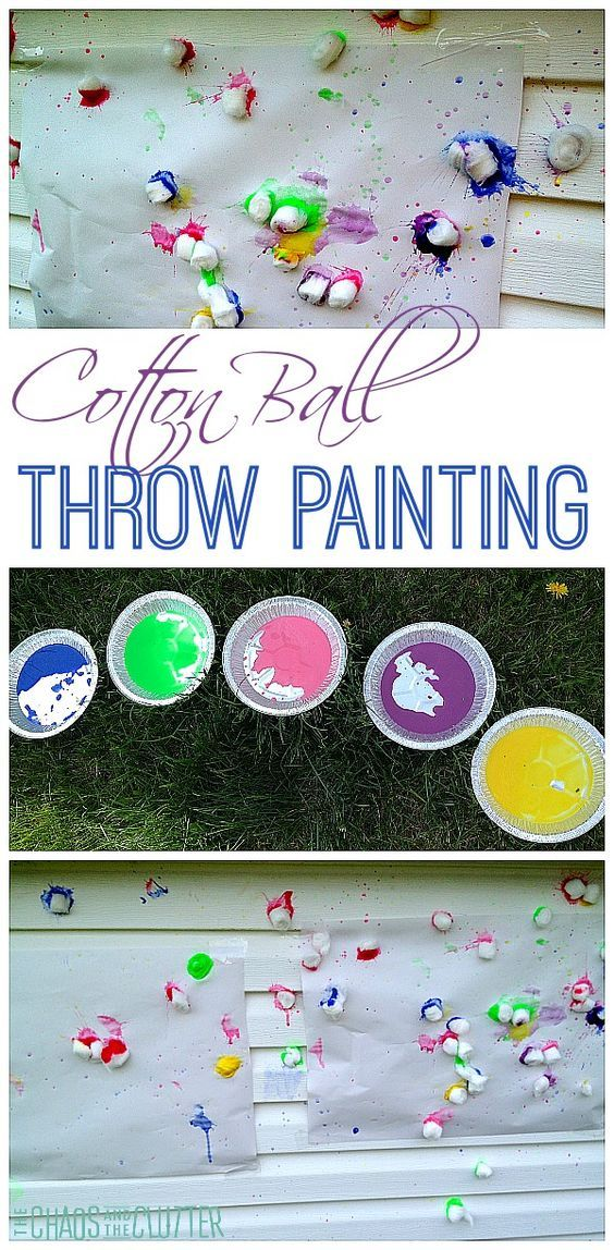 Cotton Ball Throw Painting is a great gross motor art activity for kids