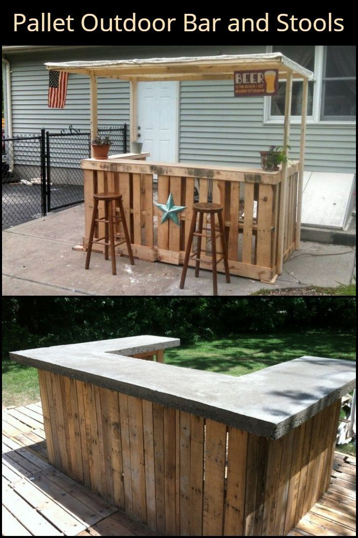Diy Pallet Outdoor Bar And Stools Mostrador De Madera Bar