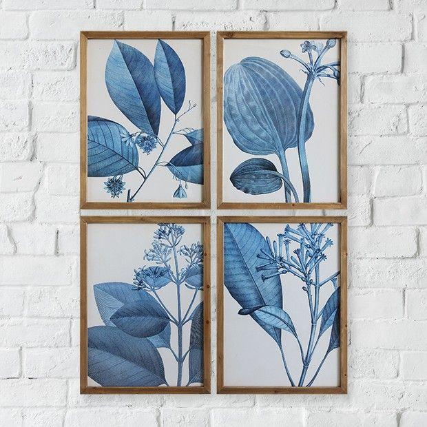 Blue Hued Botanical Framed Art Prints Set Of 4 Framed Botanical Art Botanical Wall Art Botanical Artwork