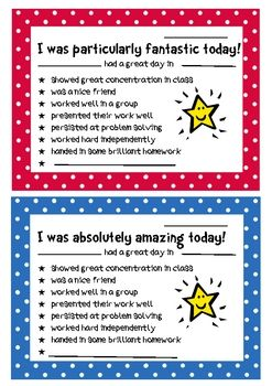 Send a positive note home with your students today!  They get praise from you and encouragement from their classmates at school and then further positive reinforcement from everyone who sees their note on the fridge at home!  Download for free today from my TPT.