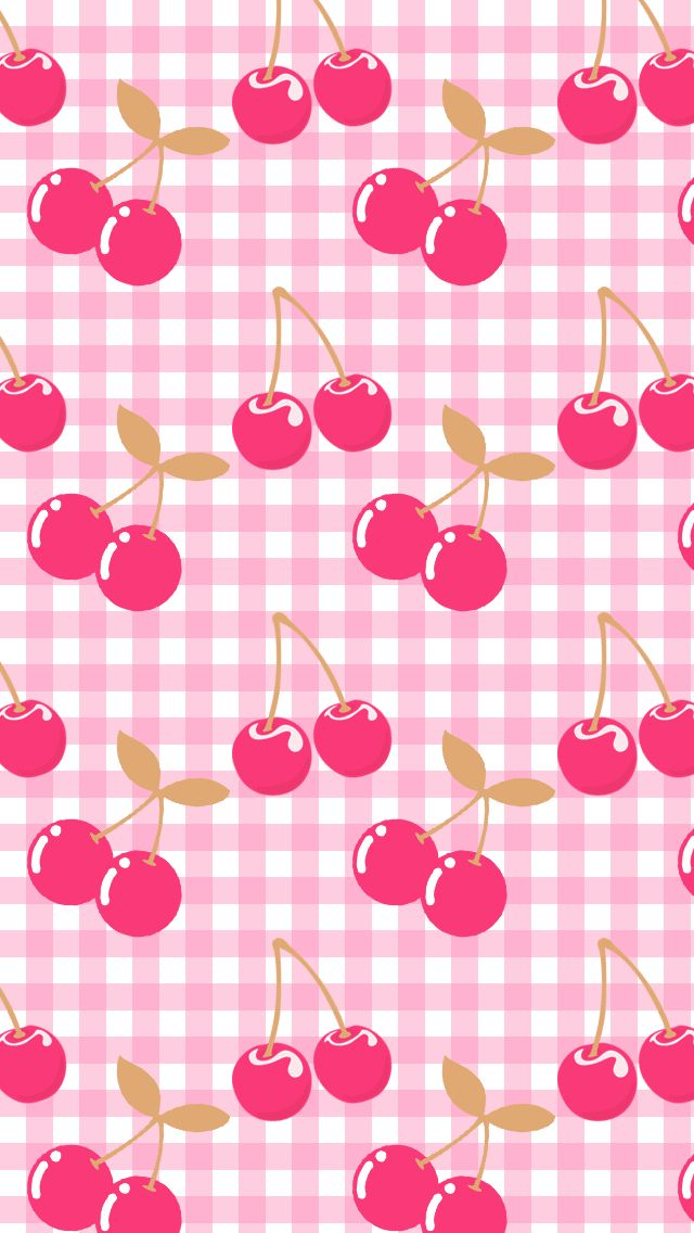 Pink Cherries & Gingham Wallpaper.