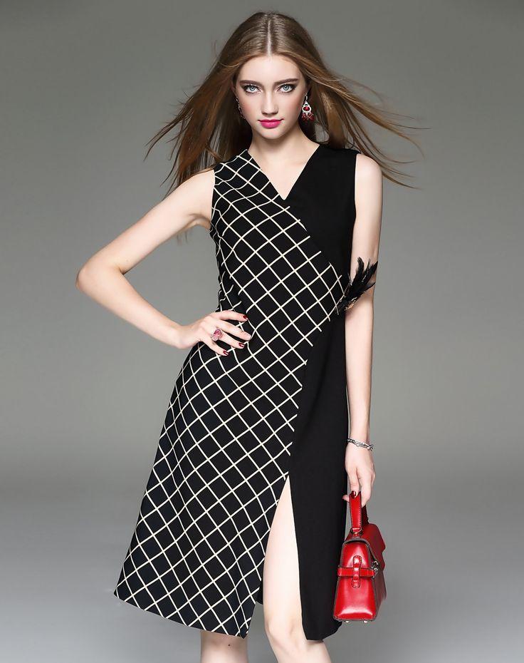 Plaid Sleeveless Wrap Midi Dress