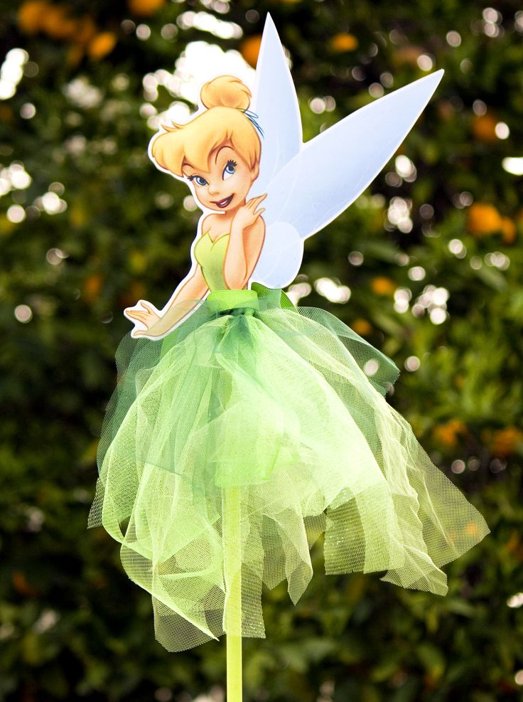 One Tinkerbell Wood Centerpiece With Tutu For Birthday