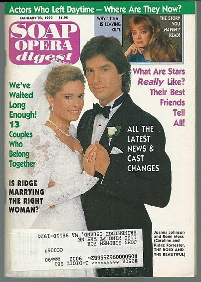 Soap Opera Digest January 23, 1990 Ronn Moss and Joanna Johnson from BB