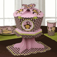 Monkey Girl - Personalized Baby Shower Centerpieces