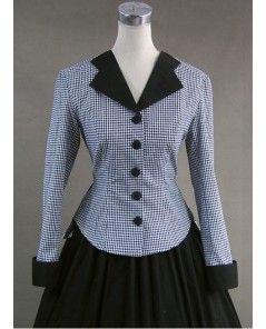 Plaid Long Skirt Medieval   Vintage Grey Plaid and Black Gothic Victorian Dress