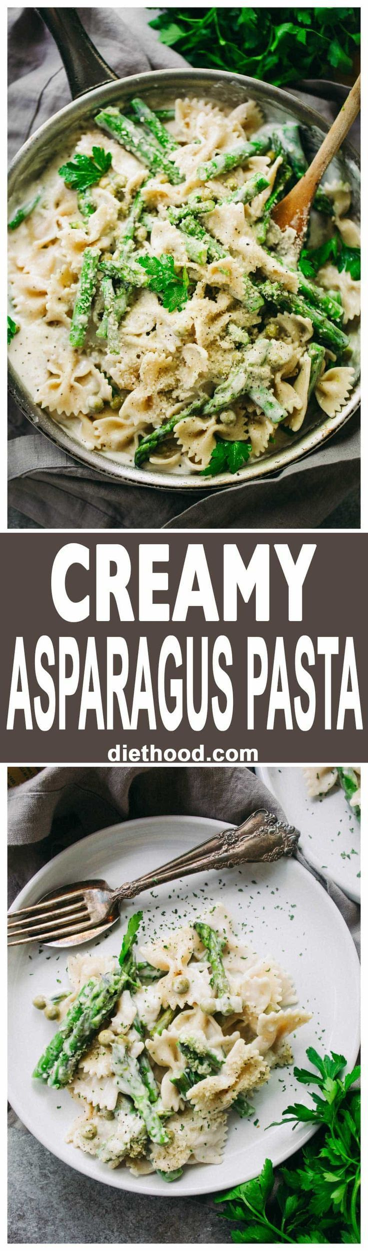 Creamy Asparagus Pasta Recipe - A creamy, yet healthy veggie loaded protein-packed pasta with asparagus and peas, all tossed in a lightened-up cream sauce!