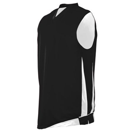 Custom team sportswear. Add your team logo to this black and white jersey at Unitedteamsports.com