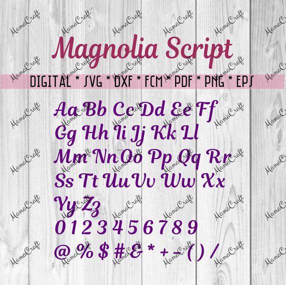 MAGNOLIA SCRIPT FONT alphabet cutting file svg by MamaDigitalCraft