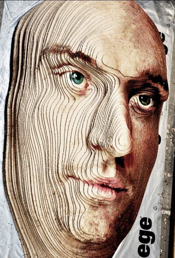 Face to Face - A Portrait made out of carpets | Brian Frandsen, a recent graduate from the Kolding School of Design, worked with the carpet manufacturer ege to create a 3D self portrait sculpture out of carpets. |