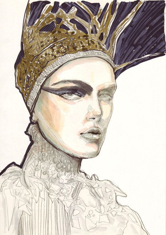 Fashion illustrations done in pencil, watercolors, markers and ink