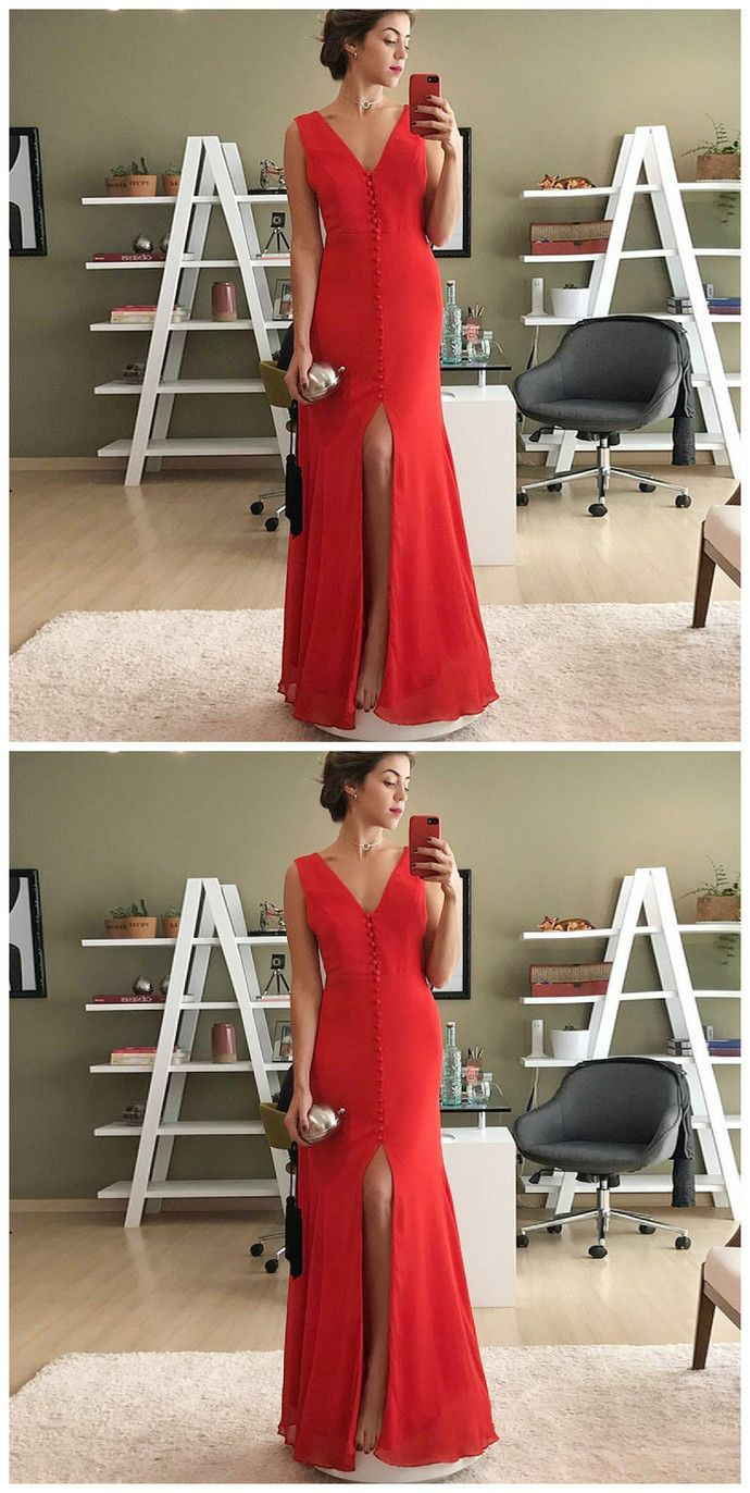 Mermaid vneck split front floorlength red chiffon prom dress in