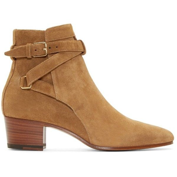 Saint Laurent Tan Suede Blake Ankle Boots (€735) ❤ liked on Polyvore featuring shoes, boots, ankle booties, tan boots, suede bootie, leather sole boots, bootie boots and short suede boots