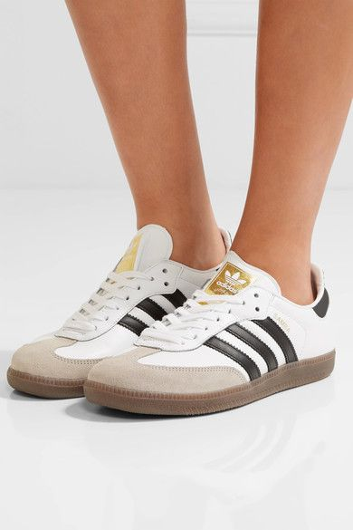 adidas Originals - Samba Suede-trimmed Leather Sneakers - White - US7.5