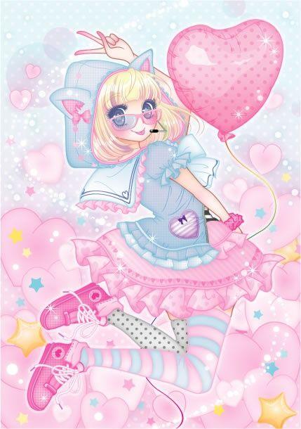 Garota Anime Fofa-Balão de coração-Cutie
