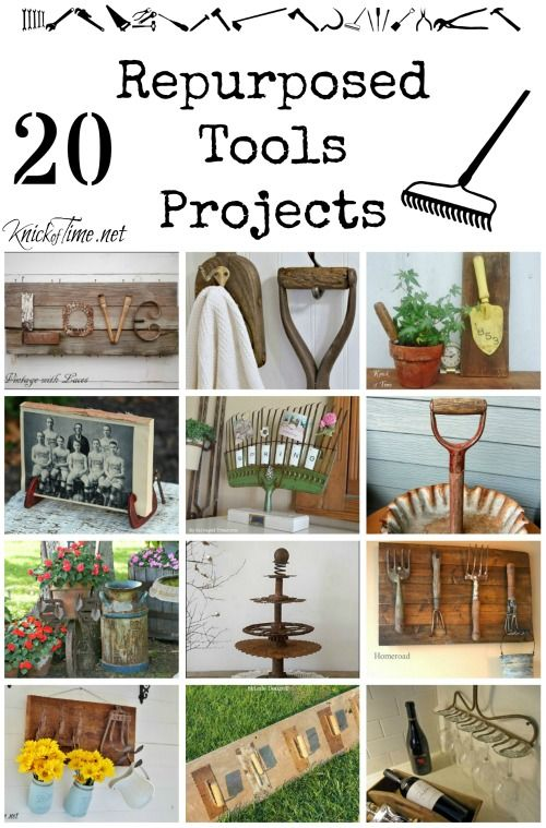 Farmhouse Friday #6 - Repurposed Tools - Knick of Time Website with loads of ideas and  projects, http://knickoftime.net/2015/05/repurposed-tools.html