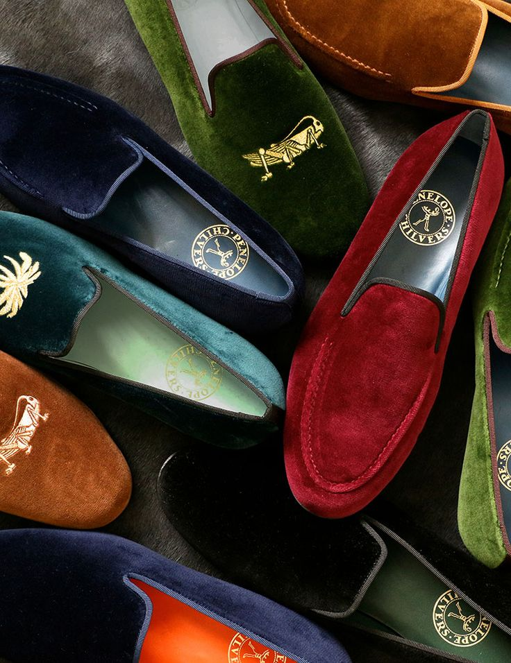 Our lush moss green velvet Dandy slipper with a grass hopper embroidered motif…