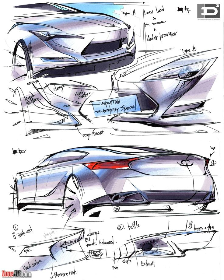 Toyota FT-86 concept design exterior sketches by Toyota Europe Design ...