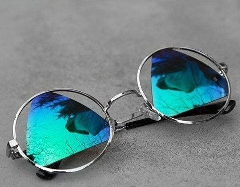 Retro Round Vintage Sunglasses Handmade Cool Men by mixandchic