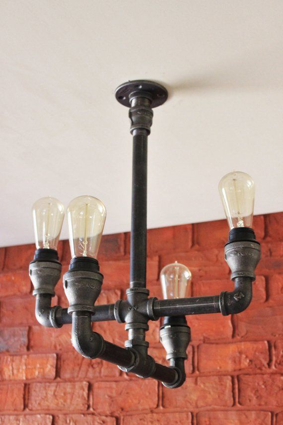 Pipe Chandelier Farmhouse Lighting Fixture Hanging Ceiling Light W Cages Black