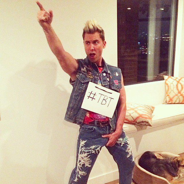 Pin for Later: Look Back at Last Year's Best Celebrity Halloween Costumes! Lance Bass as a Throwback Version of Himself in *NSYNC