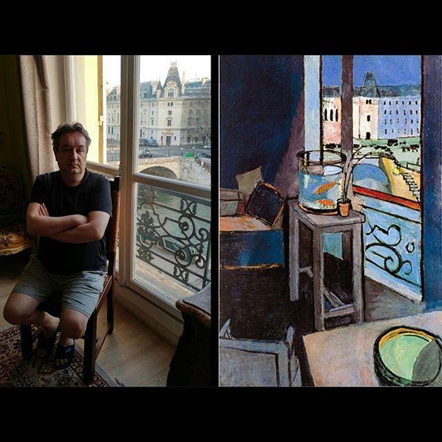 Living in Matisse's flat, 2017 #selfie #matisse #paris #interieur #goldfish #oilpainting #fauve #flat #seine #frenchartist #ig_artistry #ig_art #ig_paris #iloveparis #henrimatisse #window #panorama #pontsaintmichel #selfportrait #artlover #museumlover