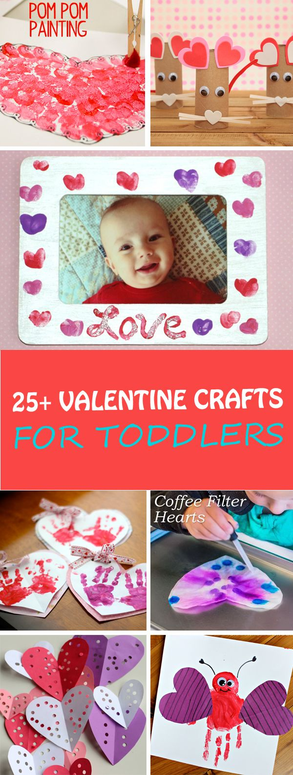 Easy Valentine crafts for toddlers: fingerprint frame, heart robots, heart garlands, coffee filter hearts, pom pom heart painting, tissue paper heart wreath, footprint love bug and more. Great also for preschoolers. | at Non-Toy Gifts