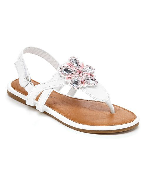 Look at this RCK Bella White Flower T-Strap Sandal on #zulily today!
