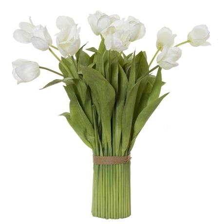 Foliage Tulip Bunch 77cm. Place inside a blue and white vase