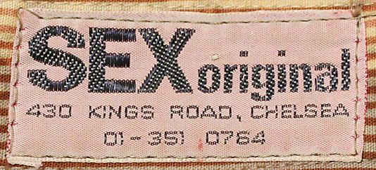 1974 SEX Original - Clothing Label Vivienne Westwood & Malcolm McLaren