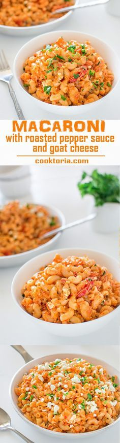 This tasty macaroni in colorful, homemade roasted pepper sauce and creamy goat cheese, makes a quick and healthy vegetarian dinner! ❤ http://COOKTORIA.COM
