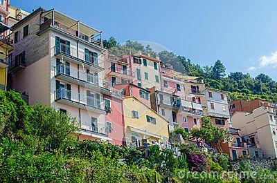 view of colorful houses in Corniglia-Cinque Terre, Italy