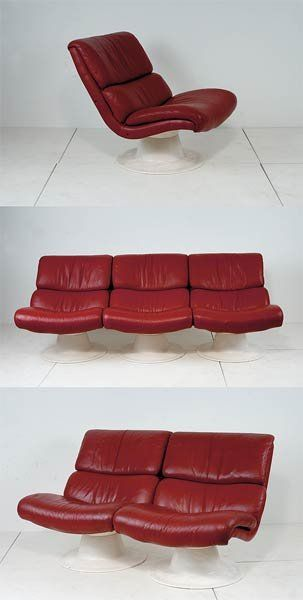Yrjö Kukkapuro; Plastic and Leather Sectional 'Saturnus' Sofa for Haimi, 1967.