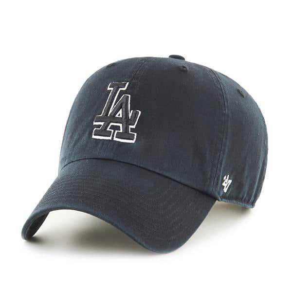 Los Angeles Dodgers 47 Brand Black White Logo Clean Up Adjustable Hat Detroit Game Gear 47 Brand Adjustable Hat Hats