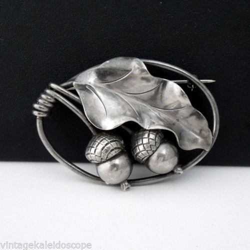 Georg Jensen 105 Oak Acorn Hand Wrought Sterling Silver Brooch
