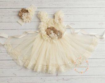 Ivory Rustic flower girl dress junior bridesmaid dress