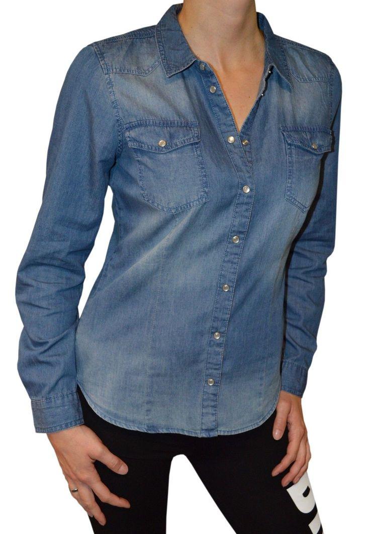 ONLY Damen Jeanshemd Jeans Bluse ALWAYS ROCK IT FIT L/S SHIRT NOOS 15109179 blau | eBay